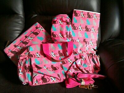 MISS LULU 4 pcs CAT MATERNITY NAPPY CHANGING BAG SET WIPE CLEAN PINK