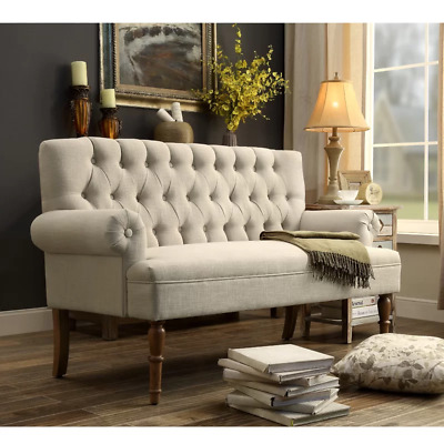 Small Settee Loveseat Button Tufted Upholstered Beige Linen Bench or Parlor Sofa