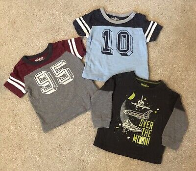 OshKosh 18m Toddler Boy T-Shirt Lot of 3 Blue Gray Maroon Glow In The Dark Space