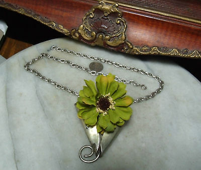 Antique Sterling Silver Super heavy Floral Vase Arts and Crafts Rare Necklace