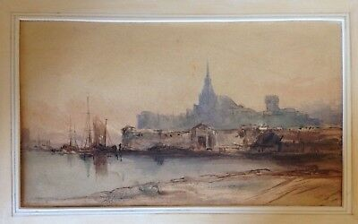 Paul Marny (1829-1914) 19th Century Watercolour of St. Malo, France.