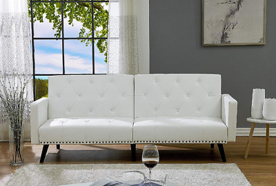 WHITE LEATHER FUTON Sofa Bed Sleeper Couch Convertible ...
