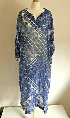 f10de532851 DAVID NIEPER Kaftan Maxi Size 22 Blue Silk Cotton Mix Holiday Cruise Plus  Size