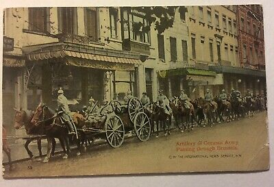 Real Photo card German Army Passing Through Brussels WWI Postcard RPPC