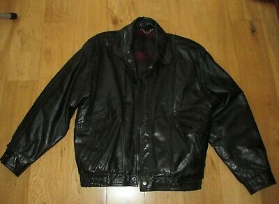 Mens St Michael Black Leather Jacket - Size Large - Vintage