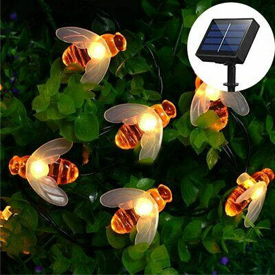 30 Warm White LED Bee Solar Party Fairy Outdoor String Lights for Patio & Garden