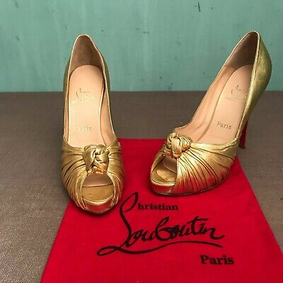 dfe2f7a9df4 CHRISTIAN LOUBOUTIN GREISSIMO 9.5-10(40) Metallic Gold Leather Peep Toe  Platform
