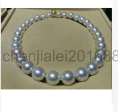 huge 13-15mmsouth sea round white pearl necklace 18inch 14k