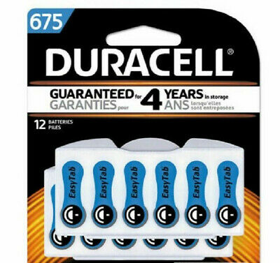 12 Genuine Duracell Hearing Aid Batteries Size 675 Pack of 12, Exp 2022