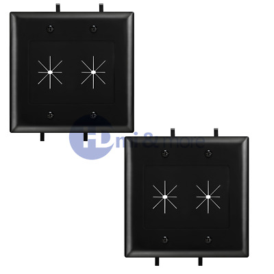 2x Wall Plate With Flexible Opening Cable Plate 2 Gang Black