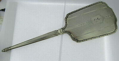 Massive Early 20th C Ornate Canadian Sterling Silver Hand Mirror By Birks