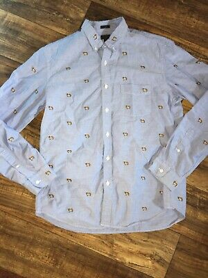d40d5bf9 JCrew Oxford Mens Slim Fit Button Down Shirt Embroidered St. Bernard Size  Large