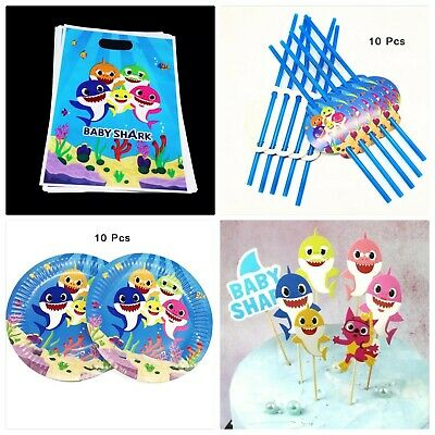 Baby Shark Party Pack 10 Straws 10 Plates 10 Party Bags Cake Topper Decoration