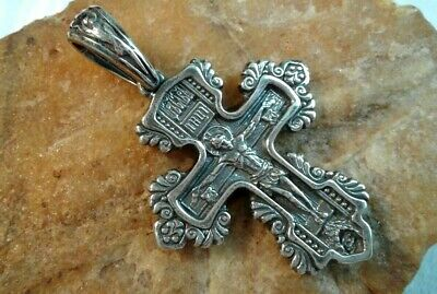 Sterling Silver Ornate Orthodox Crucifix Mother Of God, St. Pantaleon The Healer
