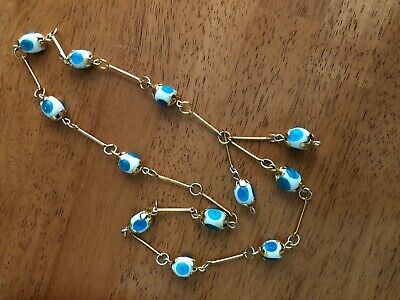 """Vintage Unsigned Gold-Tone Beaded Necklace Is Long, Approx. 30"""", With Two (2) Da"""