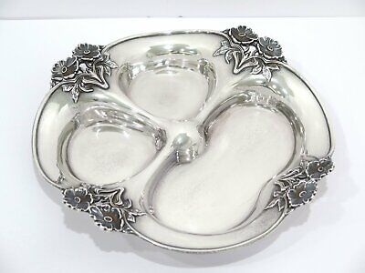 """10.25"""" Sterling Silver Black Starr & Frost Antique Poppy Flower 3-Section Plate"""