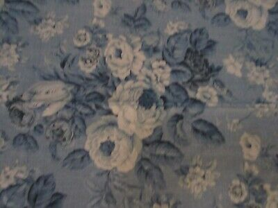"""NEW Daisy Kingdom Rose Fabric """"Victoria Rose Allover"""" Springs Blue White Roses"""