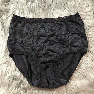 VTG MAIDENFORM WISE-BUYS Black Solid Lace PANTIES SILKY NYLON SZ 7