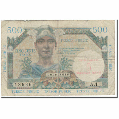 [#596392] Frankrijk, 5 Nouveaux Francs on 500 Francs, 1955-1963 Treasury, B+