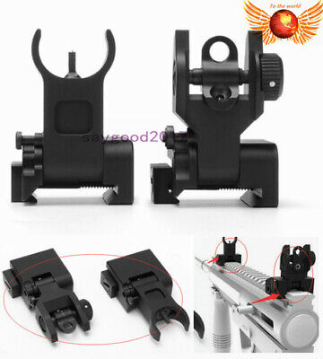 Flip up Front Rear Iron Sight Set BUIS Sights for 20mm Mount Picatinny Rifle