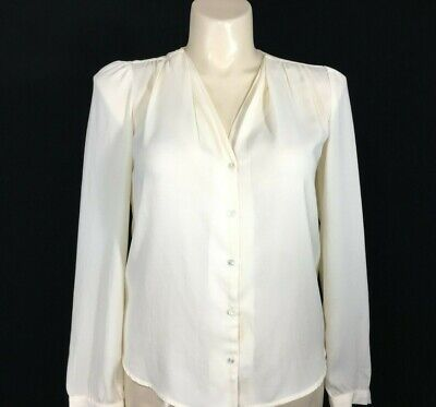 2ebb6756cee3 Large Blouse Top Ivory Cream Long Sl FOREVER 21 Pleat V Neck Button Work  Basic