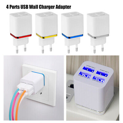 Fast 4 Ports USB Charger Adapter 5.1A Mobile Phone Wall Home Travel Quick Charge