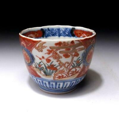 YN3: Antique Japanese Hand-painted OLD IMARI SOBA Cup, 19C