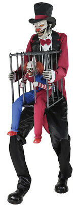 Halloween Life Size Animated Rotten Ringmaster Clown Cage Prop