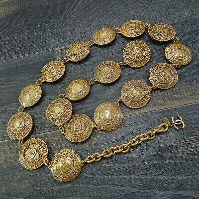 da571225d6ab CHANEL Gold Plated CC Logos Cambon Medal Charm Vintage Chain Belt #4486a  Rise-on