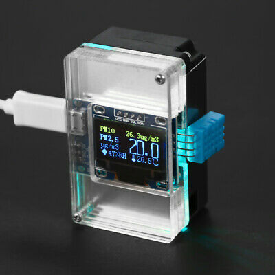 DIY PM2.5 Environment Detector Kit Air Quality Monitor & Transparent Case F6I8