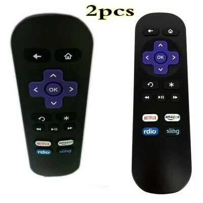 2PCS Replacement Remote for ROKU 1/ 2/ 3/ 4 LT HD XD XS with 4 Shortcut Buttons