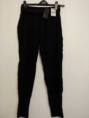 28b8858adf EX M&S LTD Edition Black Patterned Stretch Tapered Leg Trousers Size ...