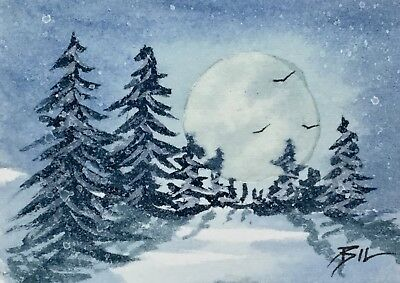 ACEO Original Miniature Painting by Bill Lupton - Snow by Moonlight