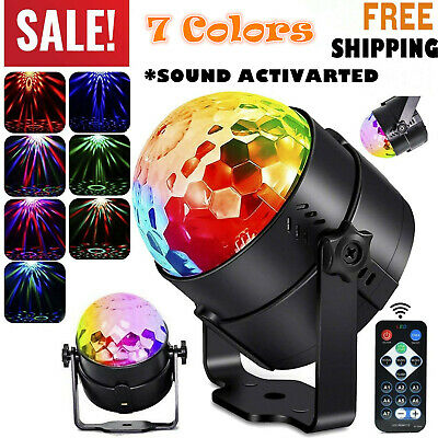 Party Disco Lights Strobe LED Rotating Ball Sound Activated Remote Control Lamp
