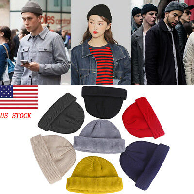 US Unisex Men Women Beanie Hat Warm Ribbed Winter Turn Ski Fisherman Docker Hat