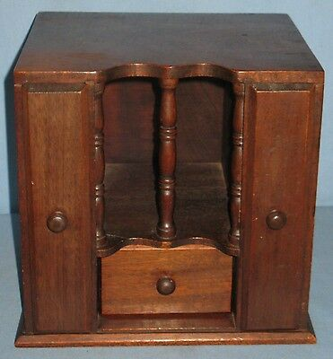 Antique Mahogany Desk Table Counter Dresser Top Organizer 4-Compartments Ca1900