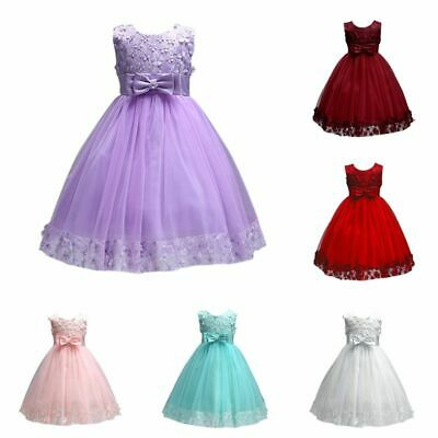 Flower Bow Kids Girl Pageant Party Formal Wedding Bridesmaid Princess Tutu Dress