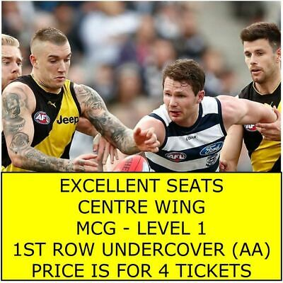 RD 12 Richmond Tigers Vs V Geelong Cats 4 x Adult Tickets Level 1 CENTRE WING