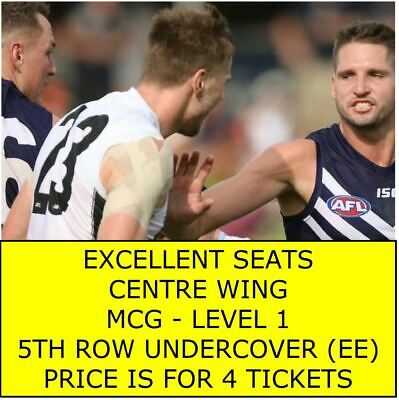 RD 11 Collingwood Pies Vs V Fremantle Dockers 4 Adult Tickets LVL 1 CENTRE WING