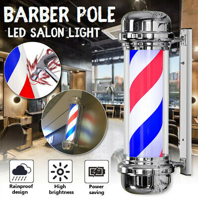 """28x12"""" Barbershop Sign Barber Pole with LED Light and Revolving Stripes Outdoor"""