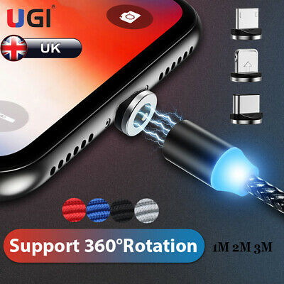 UK 360° Magnetic Cable LED Type C Micro USB Charger Cord For iOS Android Phones