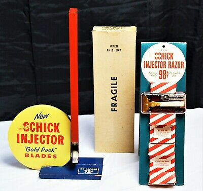 2 Old Exhibitors of safety razors and blades Schick Injector. Expositor afeitar.
