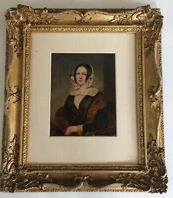 Fine Antique 19Th Century Victorian Oil Portrait Painting Gilt Gold Frame