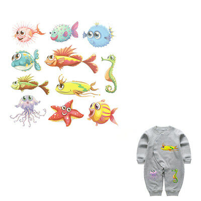 Ocean Animal Iron On Patches Washable Heat Transfer Sticker Clothes Applique NTH