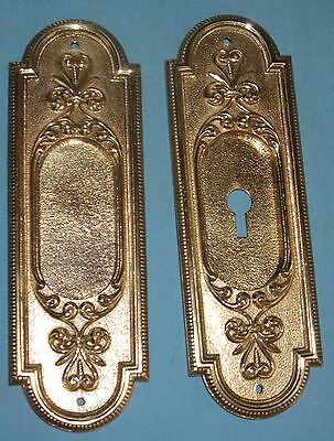 Antique Pair Solid Cast Brass Pocket Door Pulls/Plates Victorian Design Ca1900