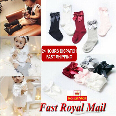 Fit 0-4 Y Spanish Girl Baby Cotton Knee High Socks Bow Romany School Stockings