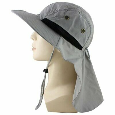 Gray Boonie Snap Hat Brim Ear Neck Cover Sun Flap Cap Hunting Fishing Hiking