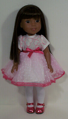 "DK PINK Floral Swimsuit Doll Clothes For 14/"" American Girl Wellie Wishers Debs"