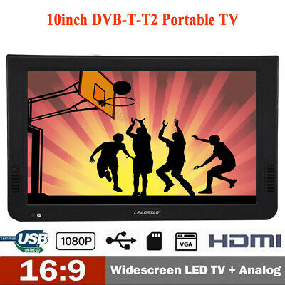 Freeview 1080P HDMI HD 10'' Portable TV Digital Television Player PVR/USB 12V UK