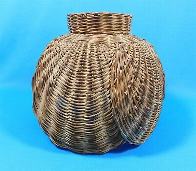 "Vintage Natural Wicker Rattan Lamp Shade Only Fan Shaped 10"" Hanging Light"